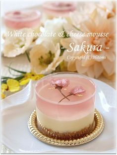 日本人のおやつ♫(^ω^) Japanese Sweets Sakura 桜ホワイトレアチーズ White chocolate & cheese Fancy Desserts, Just Desserts, Delicious Desserts, Dessert Recipes, Yummy Food, Eid Recipes, Jelly Cake, Japanese Sweets, Plated Desserts