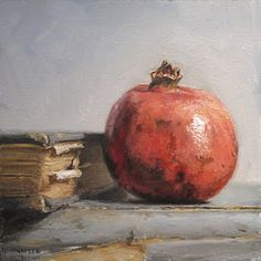 """Daily Paintworks - """"Pomegranate with Books"""" - Original Fine Art for Sale - © Michael Naples Paintings I Love, Beautiful Paintings, Pomegranate Art, Still Life Fruit, Fruit Painting, Painting Canvas, Still Life Oil Painting, Fruit Art, Naples"""