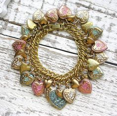Vintage Puffy Heart Charm Bracelet Lockets Enamel Flowers by TheVintageHeart