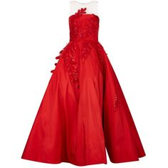 Oscar de la Renta Appliqué Fern Silk Gown (€15.220) ❤ liked on Polyvore featuring dresses, gowns, silk gown, red ball gown, red silk evening gown, red silk dress and red sequin dress