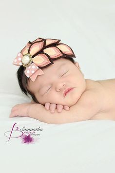 Felt Flower Headband - Peach Brown Headband - Wool Felt - Dahlia - Newborn - Infant - Toddler - Girls - Womens Fall Headband - Fascinator