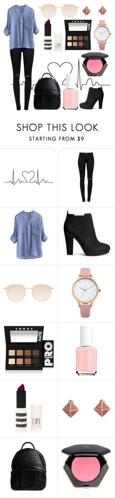 """""""Back To School Outfit #6"""" by bunas ❤ liked on Polyvore featuring J Brand, H&M, Mykita, Oasis, LORAC, Essie, Topshop, Metropark and Alexander Wang"""