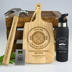 Ultimate Father's Day Hamper - Hammer, Chopping board, Credit Card Bottle Opener & Sports Bottle <3