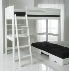 High Sleeper Bed with Black Futon, Desk and 2 Shelves. 3Ft Single Bed in White. Made In The UK.: Amazon.co.uk: Kitchen & Home