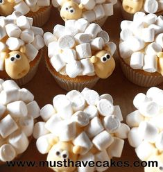 (make with chocolate cake mix instead – much … Sheep cupcakes- soooooooo cute! (make with chocolate cake mix instead – much cuter) Cupcake Recipes, Cupcake Cakes, Dessert Recipes, Frosting Recipes, Kid Cakes, Baking Cupcakes, Sheep Cupcakes, Funny Cupcakes, Sheep Cake