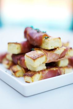Haloumi cheese wrapped in proscuitto