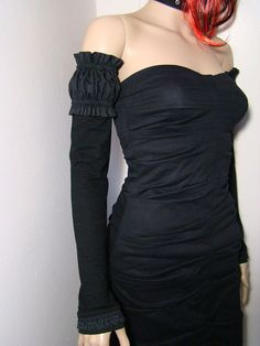 Black PUFF SLEEVE Arm Warmers (3 in 1)  Xtra long gloves  lace cuff. $36.00, via Etsy.