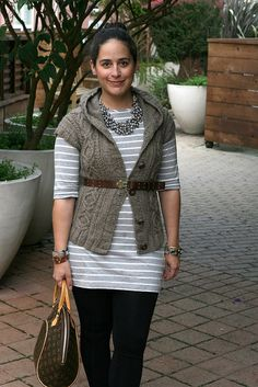 Heather hoodie vest.  Love the cables and the belted look.