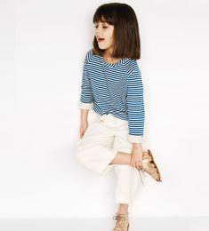 Camiseta felpa rayas #zarakids #ministyle #kidstreetstyle #fashionkids #modaniña