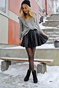 Satin skirt & boots.