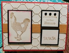 Rooster card using chicken wire embossing folder. By: Traci Wood Chicken Wire, Embossing Folder, Say Hello, Rooster, Notes, Wood, Frame, Cards, Decor