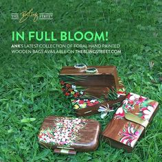 Get floral this winter season with Ank's latest collection of #handpainted wooden clutch bags in different shapes and sizes.  #floralbag #woodenbag #woodenclutch #clutchbag #handpaintedbag #handcraftedbag #accessories