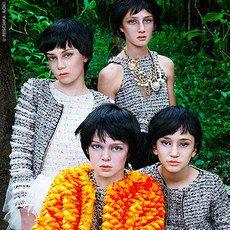 Mischka Aoki - Robe exceptionnelle en tweed bouclé et plumes d'autruche - Ivoire - 99781