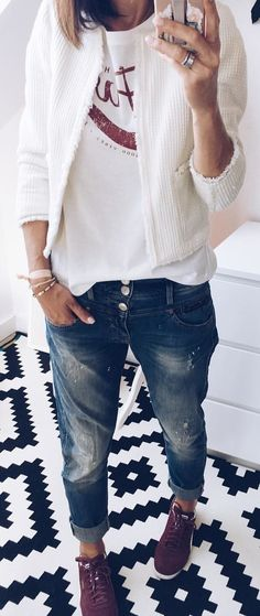 #winter #outfits white crew-neck t-shirt with white open cardigan and blue denim jeans