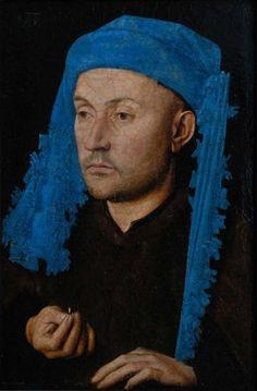 """Jan van Eyck, """"Ritratto d'uomo con copricapo azzurro"""""""
