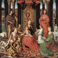 Hans Memling, Mystical Marriage of St. Catherine, with Sts. Barbara, John the Baptist, and John the Evangelist, 1479