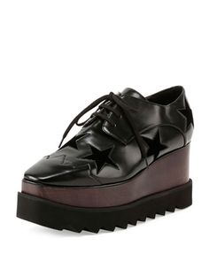 Elyse Stars Faux-Leather Platform Creeper, Black by Stella McCartney at Neiman Marcus.