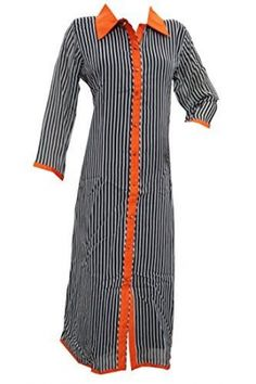 Women's Long Tunic Dress Black Orange Georgette Kurti Ethnic Wear Caftans. Georgette Imported hand wash, drip dry Reflect timeless elegance and wearing this beguiling beautiful Grey with black lines long Georgette kurta from India. Grey with black lines, Stylish vibrant orange collar with Embroidered patch in back, Full Sleeves in Grey with Black lines with orange corners, Golden cone buttons in front gives attractive appeal to it. Fabric: Georgette. ( Suitable for all occasions and can…