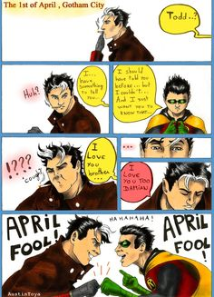 "Jason Todd and Damian Wayne ""April Fools! this is glorious Batman And Superman, Batman Robin, Spiderman, Nightwing, Batgirl, Red Hood Jason Todd, Bat Boys, Dc Memes, Batman Family"