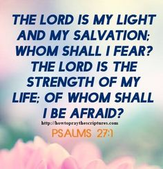 """Psalm 27:1 (KJV): """"The Lord is my light and my salvation; whom shall I fear? the Lord is the strength of my life; of whom shall I be afraid?"""""""