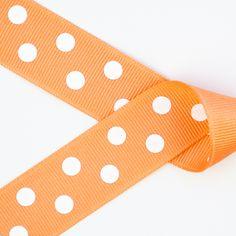Light Crème Orange with White Polka Dots Grosgrain Ribbon ~ 2 1/4in, 1 1/2in, 7/8in https://squareup.com/market/princess-bubbles-boutique/hair-bow-white-polka-dots-grosgrain-ribbon