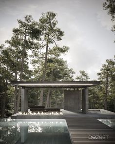 Architecture and interior seating area with open fireplace and excellent forest views
