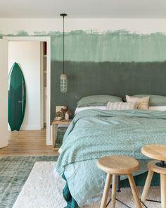 surfer chic green bedroom