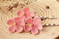 Cherry blossom hair clips Set of 3 Bridal pink by LandOfJewellery