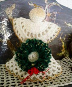 angel navideño a crochet