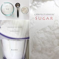 Make confectioners' sugar (icing sugar) with everyday table sugar at home, it's easy! Icing Sugar Recipe, Sugar Frosting, Frosting Recipes, Homemade Cake Frosting, Make Powdered Sugar, Confectioners Sugar Icing, Frosting Without Powdered Sugar, Biscuit Spread, Shortbread Cake