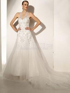 A-line Halter V-neck Chapel Train Satin Tulle Wedding Dresses-USD$399.99