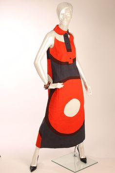 Vtg 60s Rare MARIMEKKO Red Burgundy Abstract print Midi Dress Size S M  #Marimekko $400.00+!!!