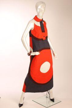 60s Rare MARIMEKKO Sleeveless Long Maxi Dress Annikki Rimala