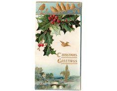Antique Christmas Card Embossed Greeting by vintagebarrelgreet, $12.00