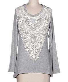 Look at this #zulilyfind! Fashionomics Gray & White Lace Hi-Low Top by Fashionomics #zulilyfinds