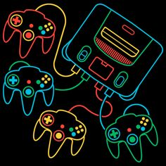 A recreation of the Super Famicom (Japanese Super Nintendo) system icon resembling the master of 4 person multi-player action, the Nintendo Nintendo 64, Nintendo Systems, Nintendo Controller, Nintendo Switch, Star Fox, Control Nintendo, Systems Art, Banjo Kazooie, Retro Videos