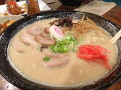 Tonkotsu pork ramen has a savory meat based broth that brings all the ingredients together in harmony alongside the ramen – this is definitely not your typical instant ramen noodle variety – it's the real thing.