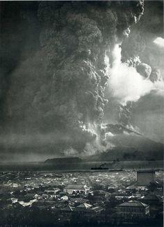 Eruption of Sakurajima volcano, the most powerful in twentieth-century Japan, with Kagoshima, Japan in foreground, 1914