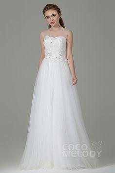 Pretty Sheath-Column Illusion Natural Floor Length Tulle Ivory Sleeveless Side Zipper Wedding Dress with Appliques CWXT1500E