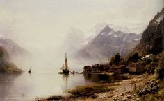 Anders Monsen Askevold Norwegian Fjord with Snow Capped Mountains hand painted oil painting reproduction on canvas by artist Landscape Art, Landscape Paintings, Oil Paintings, European Paintings, Mountain Paintings, Oil Painting Reproductions, Cool Landscapes, Old Master, Norway