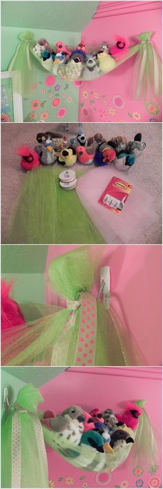 idea for soft toys storage - this will work for Sofia's army of stuffed animals.: