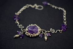 Sterling silver wire wrapped Amethyst bracelet by Yulahu on Etsy