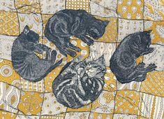 'Kittens' By Printmaker Vanessa Lubach. Blank Art Cards By Green Pebble. www.greenpebble.co.uk