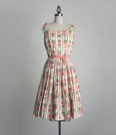 60s vintage TULIP GARDEN print sun dress