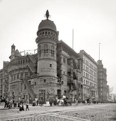 "New York City circa 1900. ""Casino Theatre, Broadway."" NYC vintage b&w photo."