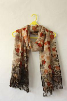 Eco Print Pure Merino Wool Scarf Naturally