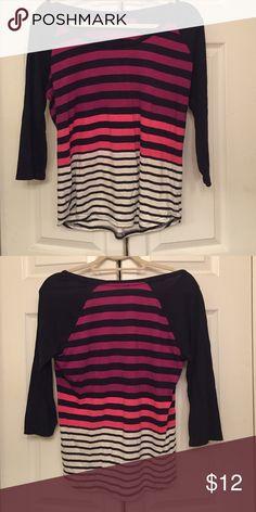 Express striped navy baseball tee Express striped navy baseball tee Express Tops Tees - Long Sleeve