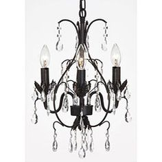 @Overstock - This beautiful chandelier from the Versailles Collection features three lights and is draped with 100-percent crystal that captures and reflects the light. This fixture showcases a black finish.http://www.overstock.com/Home-Garden/Versailles-3-light-Black-Crystal-Mini-Chandelier/5248015/product.html?CID=214117 $81.99