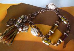 """Bracelet ethnique """"Ténéré"""" chaîne métal cuivre,perles de porcelaine irisée marron,perles vintage,perles de verre métallisées"""