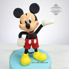 Mickey Mouse fondant cake topper Rice Krispies, Mickey Mouse, Cake Toppers, Fondant, My Etsy Shop, Disney Characters, Etsy Shop, Gum Paste, Baby Mouse